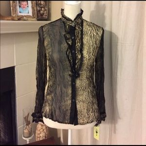 NWT - Sheer Animal Print Shirt (B3)